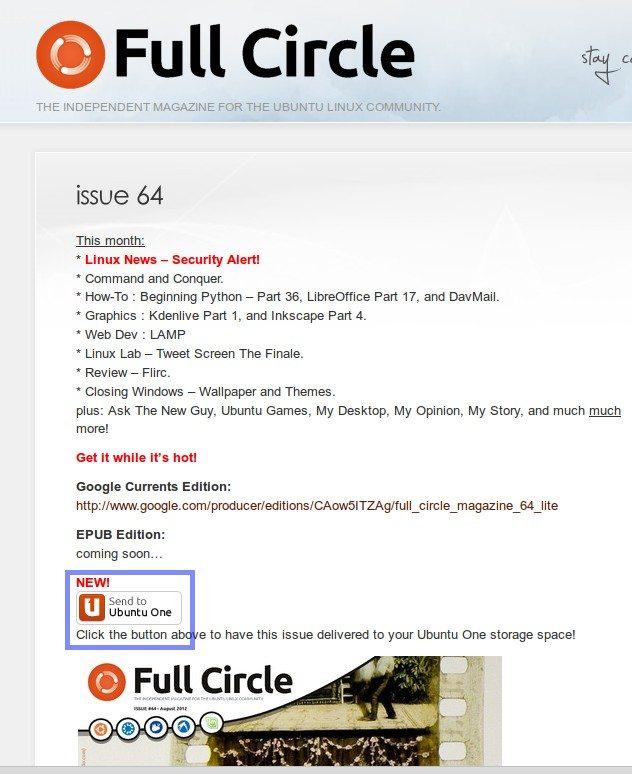Full Circle Magazine - przycisk Send to Ubuntu One