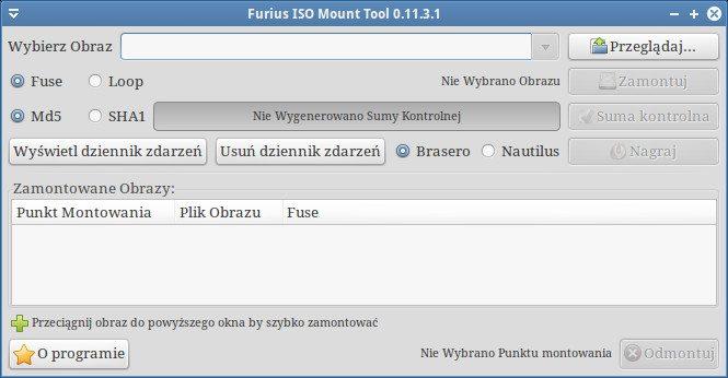Furius ISO Mount - okno główne