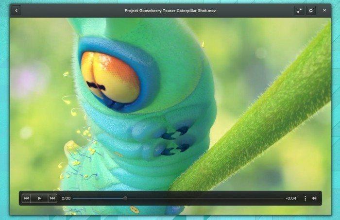 GNOME 3.12 - Odtwarzacz filmów