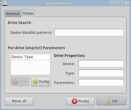 GSmartControl - Preferences - Drive