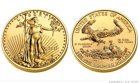 Gold American Eagle Coin - awers i rewers