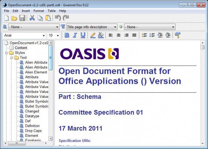 Gwennel - odczyt dokumentu ODF