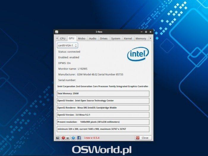 I-Nex 0.5.4 - informacje o monitorze