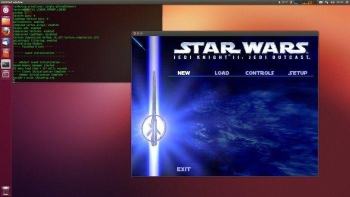 Jedi Knight II Jedi Outcast - udane pierwsze uruchomienie na Linuksie - menu startowe