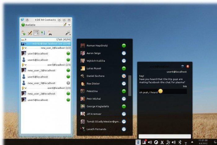 KDE Telepathy 0.4 - Plasmoid na pulpicie