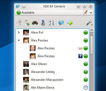 KDE Telepathy 0.7.0 - grupowanie kontaktów