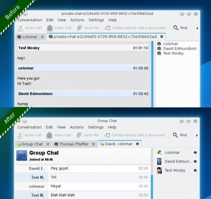 KDE Telepathy 0.9.0 - okno grupowych rozmów