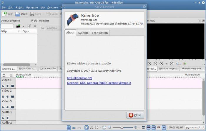 Kdenlive 0.9 - wersja programu