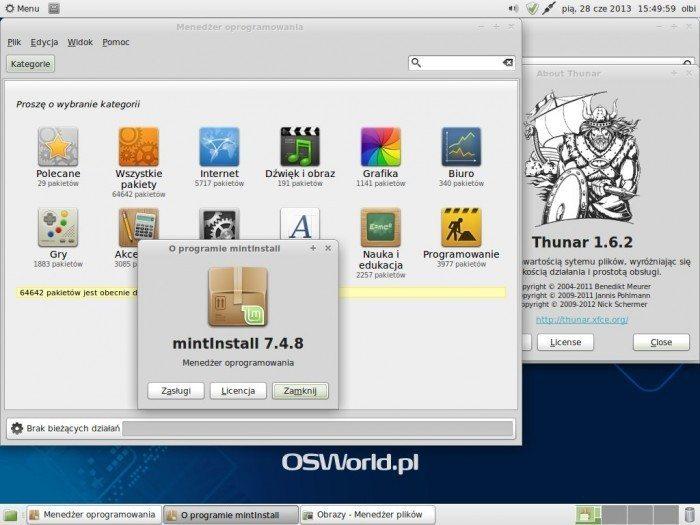 Linux Mint 15 Olivia Xfce - programy