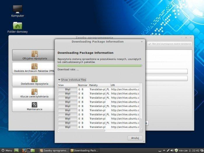 Linux Mint 15 Olivia - Zasoby oprogramowania - aktualizacja repo