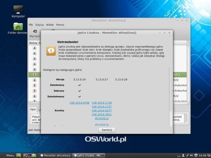 Linux Mint 17 - Jądra Linuksa