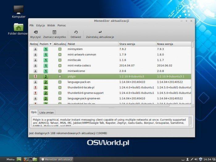 Linux Mint 17 - Menedżer aktualizacji