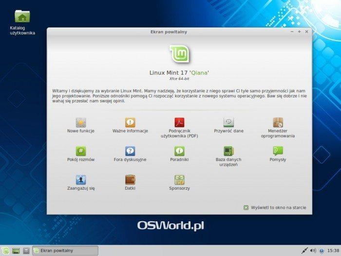 Linux Mint 17 Xfce - ekran powitalny