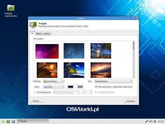 Linux Mint 17 Xfce - menedżer pulpitu