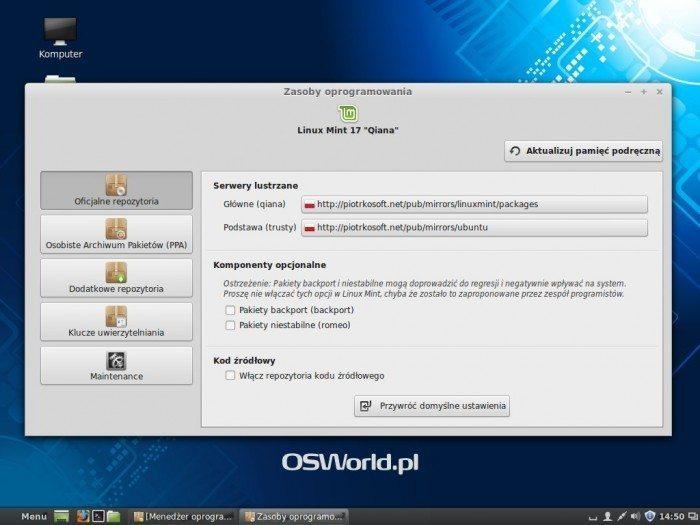 Linux Mint 17 - Zasoby oprogramowania