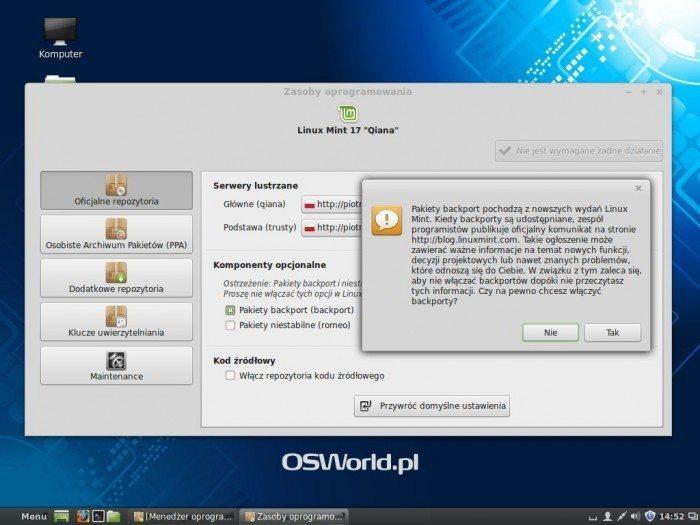 Linux Mint 17 - Zasoby oprogramowania - ostrzeżenie
