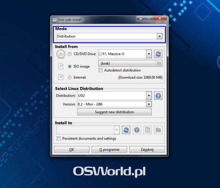 LiveUSB Install - wybór sposobu instalacji
