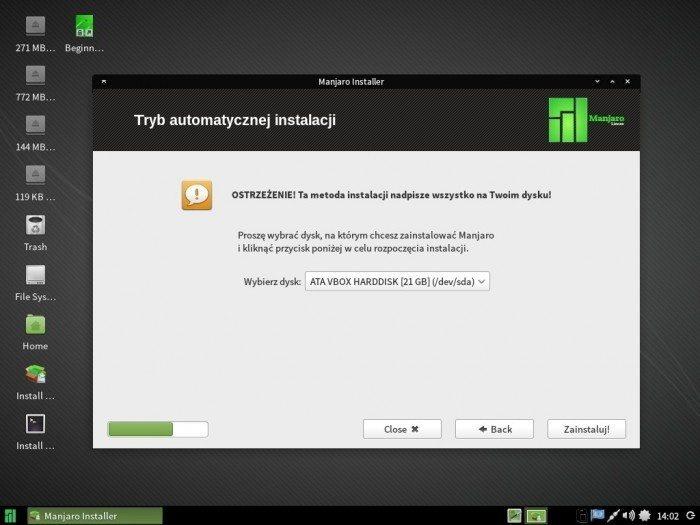 Manjaro 0.8.10 - Thus - automatyczne partycjonowanie
