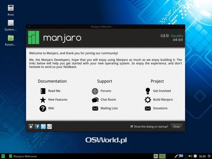 Manjaro 0.8.10 - ekran startowy