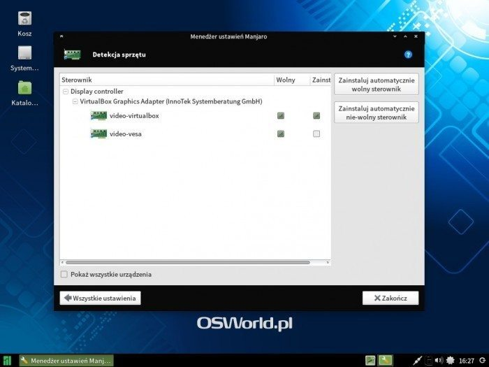Manjaro 0.8.10 - wykrywanie sprzętu