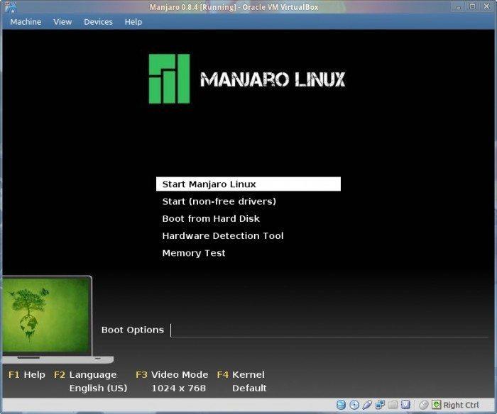 Manjaro 0.8.4 - ekran powitalny LiveCD