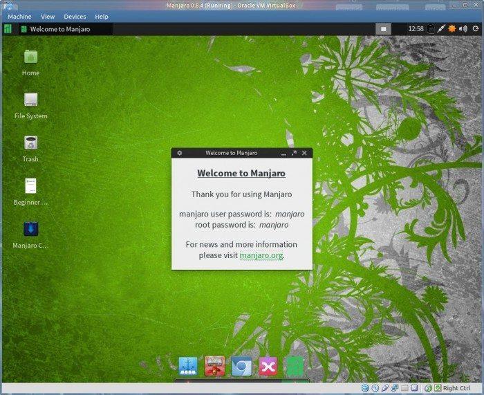 Manjaro 0.8.4 - powitanie LiveCD