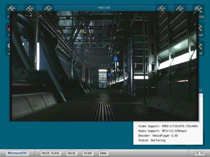 MenuetOS 1.0 - odtwarzanie filmów