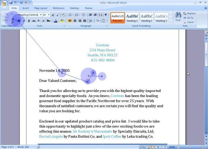 Microsoft Office 2007 - prototyp - skupienie wzroku-2