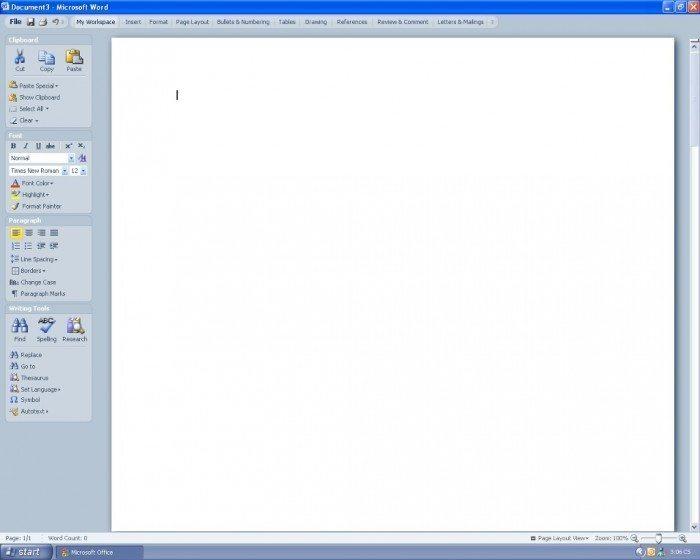 Microsoft Office 2007 - prototypowa pionowa kolumna