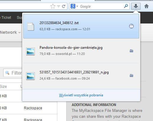 Mozilla Firefox 20 - nowy menedżer pobierania