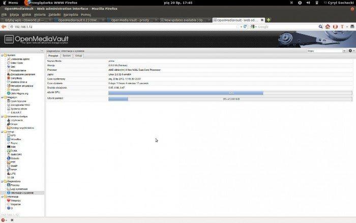 OpenMediaVault Ekran główny
