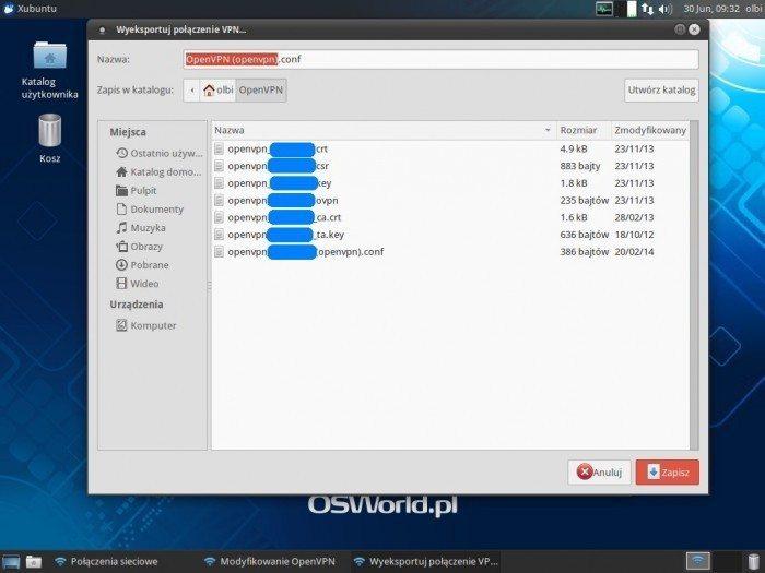 OpenVPN w NetworkManagerze - Eksport pliku konfiguracyjnego