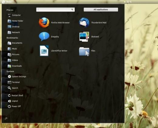 Pinguy OS 12.04 LTS - menu Axe