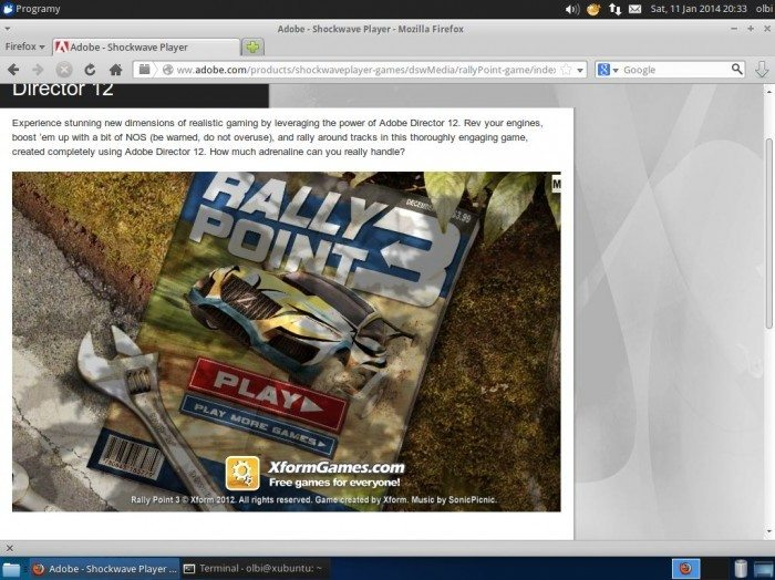 Pipelight pod Ubuntu - Shockwave Player 1