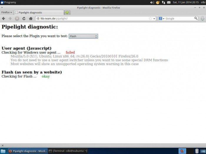Pipelight pod Ubuntu - sprawdzanie Flasha