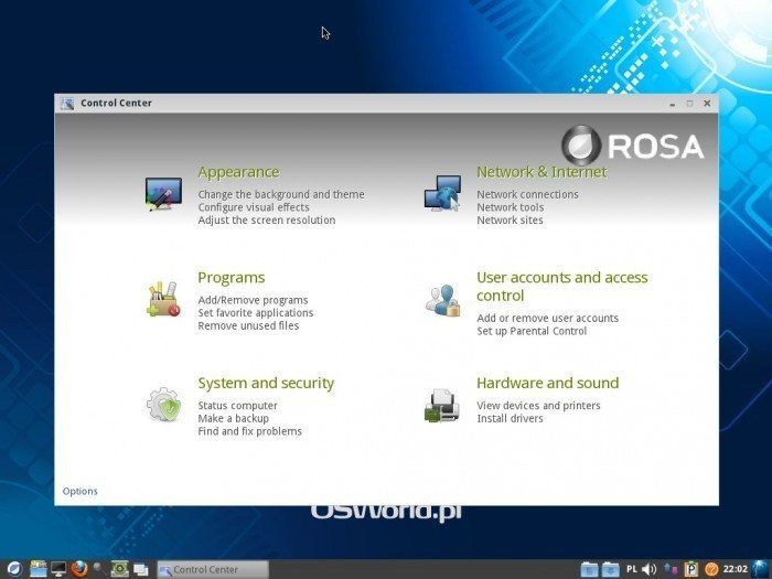 ROSA LXDE 2012 LTS - Control Center