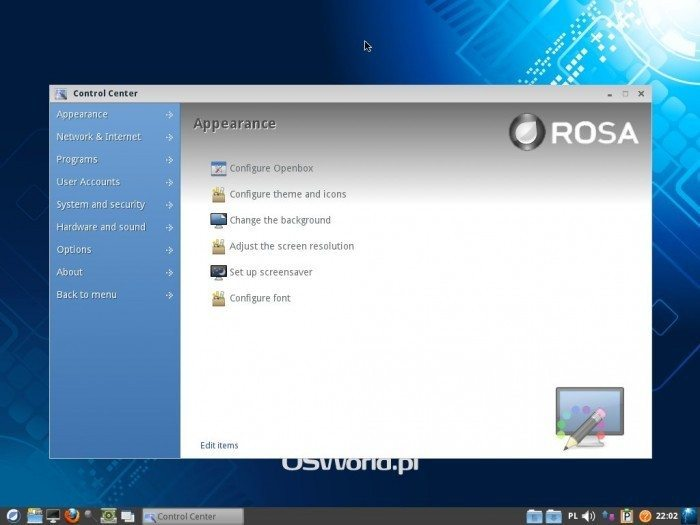 ROSA LXDE 2012 LTS - Control Center - Appearance settings