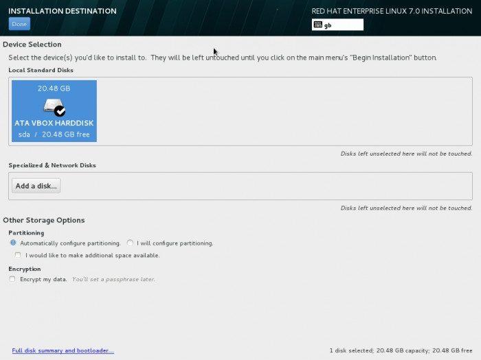 Red Hat Enterprise Linux 7 - instalator - partycjonowanie