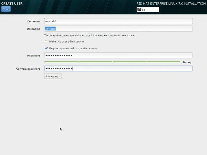 Red Hat Enterprise Linux 7 - instalator - tworzenie użytkownika