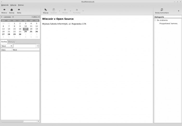 RedNotebook - podgląd