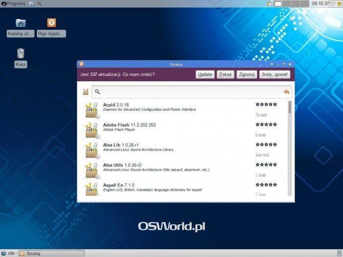 Sabayon - Rigo - podgląd pakietów do aktualizacji