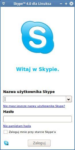 Skype 4.0 - okno logowania