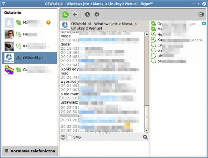 Skype 4.0 - okno rozmów
