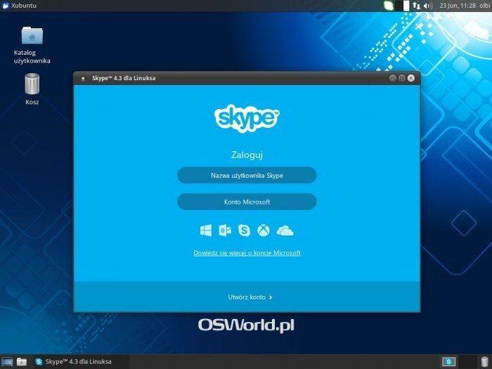 Skype 4.3 - okno logowania