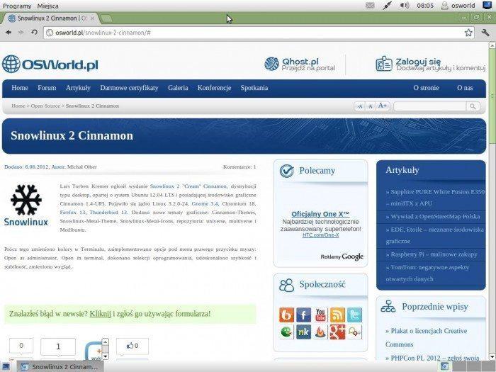 Snowlinux 2 Cinnamon - przeglądarka internetowa