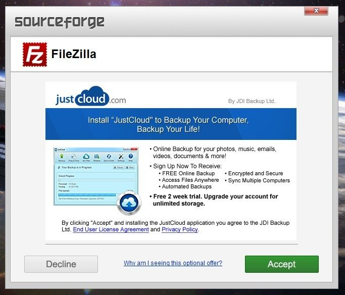 Sourceforge - adware w FileZilla