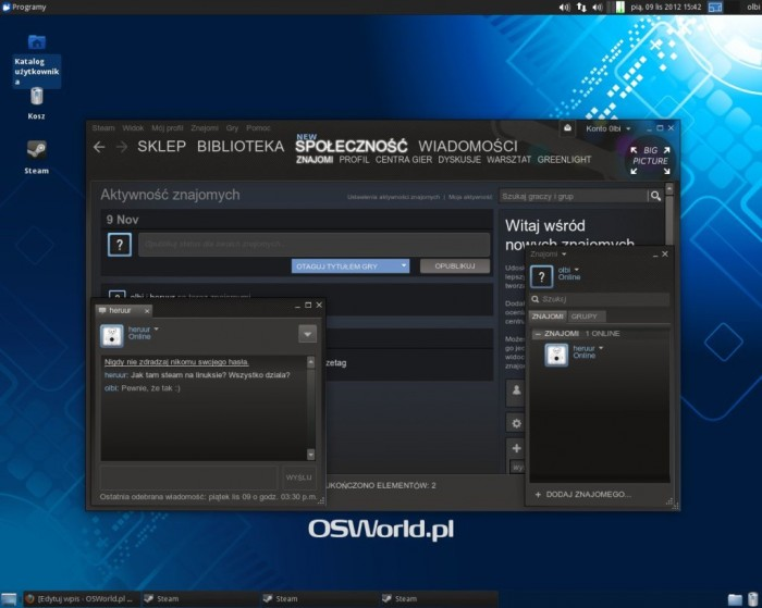 Steam Beta dla Linuksa - chat