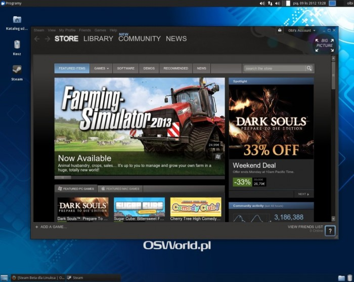Steam Beta dla Linuksa - okno główne