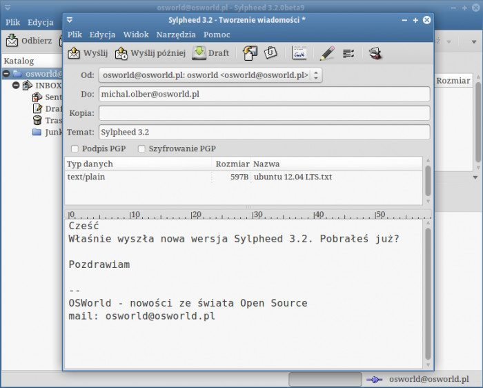 Sylpheed 3.2 - nowa wiadomość z załącznikiem