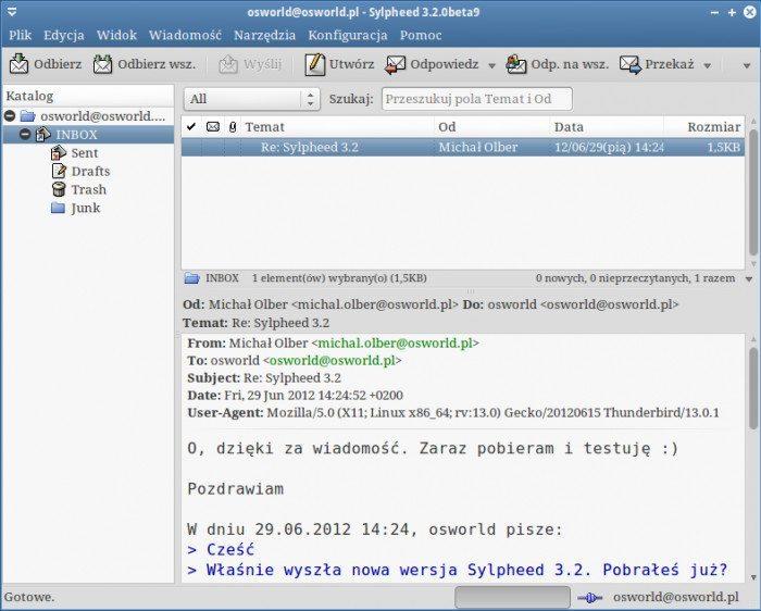 Sylpheed 3.2 - odebrana wiadomość